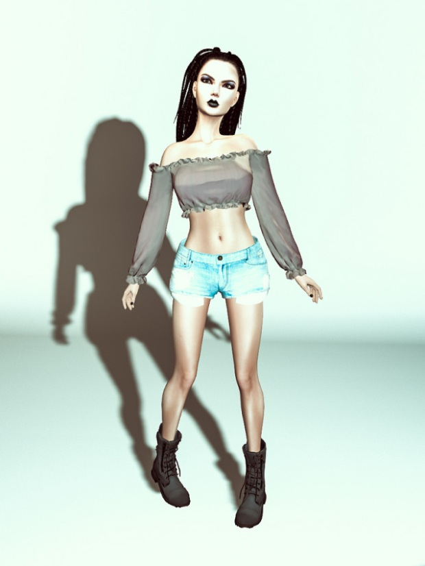 My urban look in combat's shoes and denim shorts