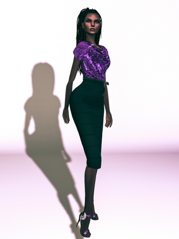 In a purple top and black long skirt